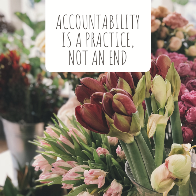 image of flowers. text reads: accountability is a practice, not an end